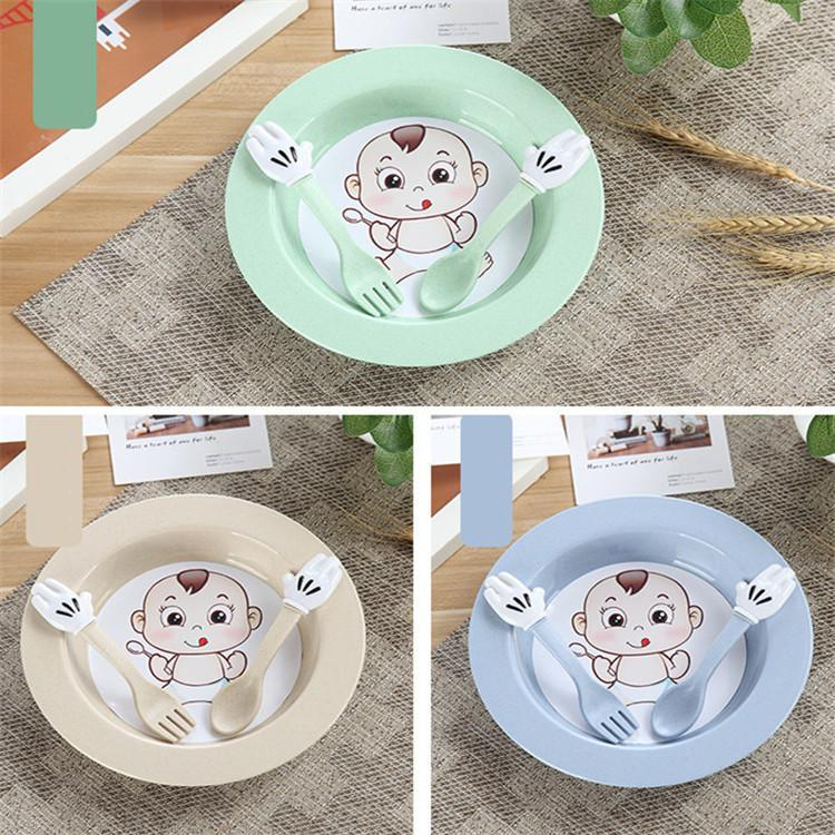 Food Grade Plastic Baby Bowl Baby Spoon Fork Wheat Straw Baby Tableware Set 4 Colors For Choosing