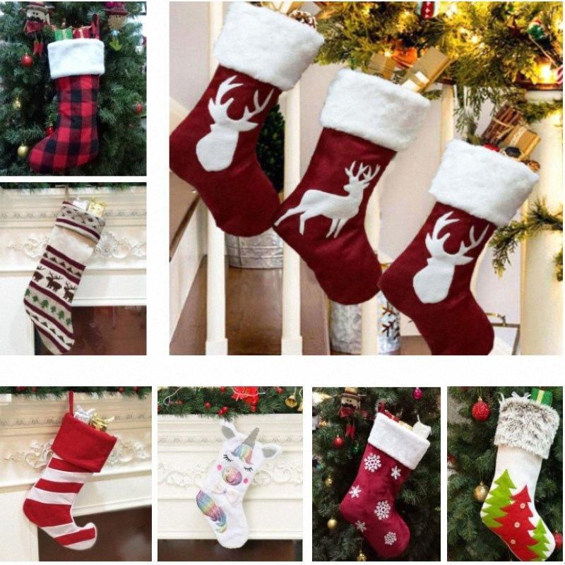 10 стиль Рождественский чулок подарочные пакеты Xmas Stocking Декоративные носки Сумки Снежинка Олени Полосатый Рождественская елка Unicorn Printed HH iyfF #