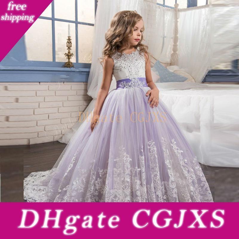 2020 Princesa Lilás Noiva pequena Longo Pageant vestido para meninas Glitz Puffy Tulle Prom Dress Crianças Traje Académico Vestido