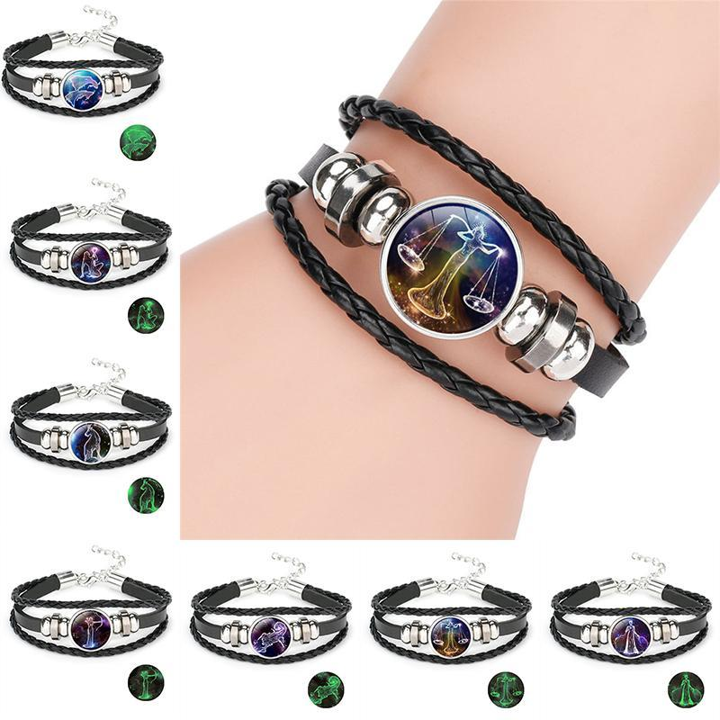 Glow in the dark 12 constellations bracelet Horoscope Sign charm multilayer wrap leather bracelets women fashion luminous jewelry