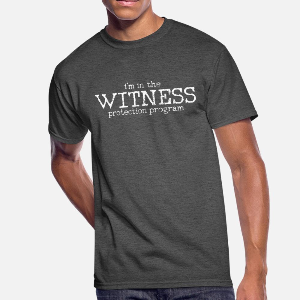 Защита свидетелей тенниски мужчины Designs тройник размер рубашки S-3XL сплошного цвета Сумасшедших Смешные Повседневной Весна семьи рубашки