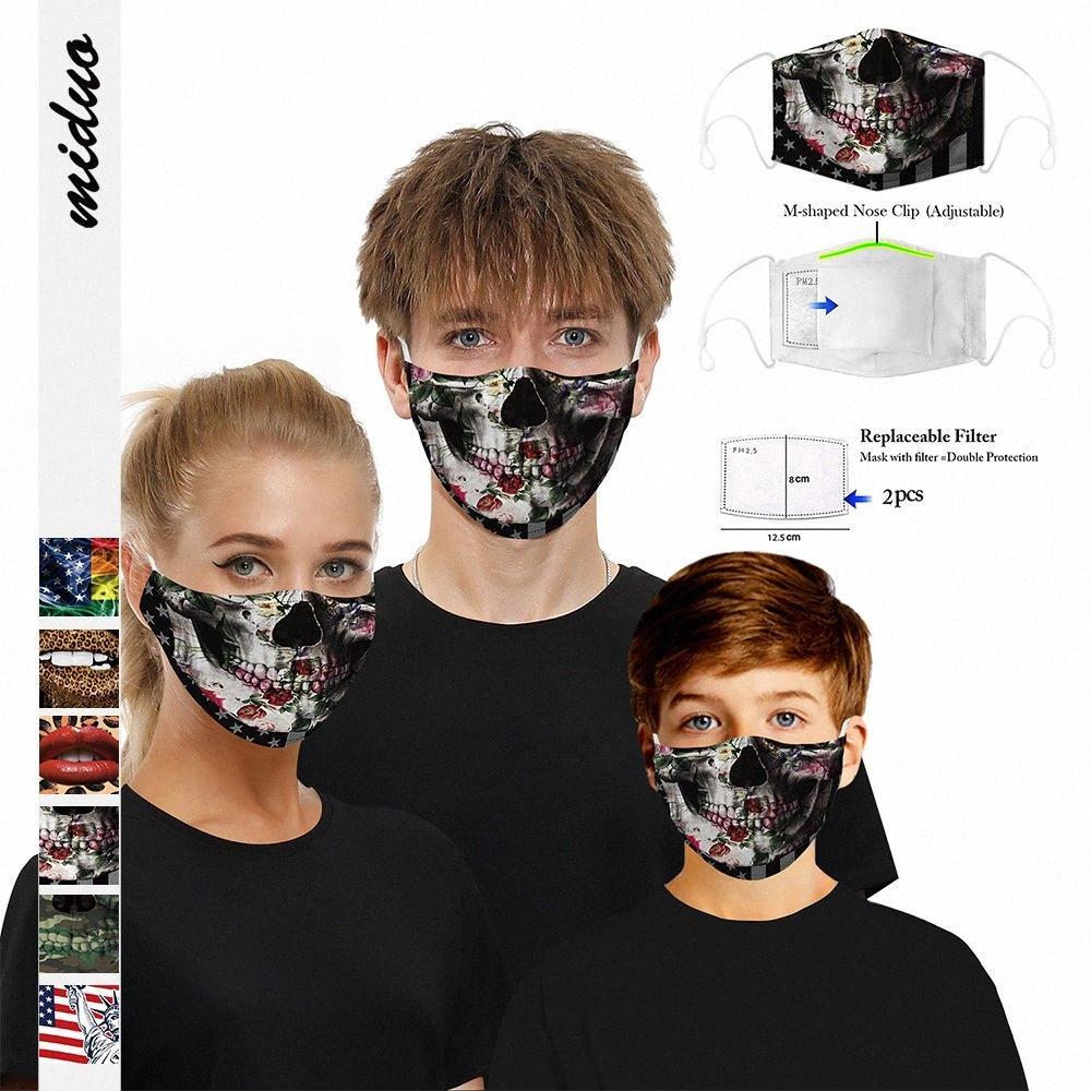 Máscara Bandeira do crânio face de impressão 3D Digital à prova de poeira PM2.5 Máscara Crianças Adulto lavável com filtro ajustável Gancho 2hAO #