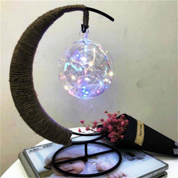Mond-Anhänger LED-Nachtlicht romantische handgemachte Fertigkeiten Stern Tischlampe Weihnachtsfest Schlafzimmer Wohnkultur Baby-Kind-Geburtstags-Geschenk