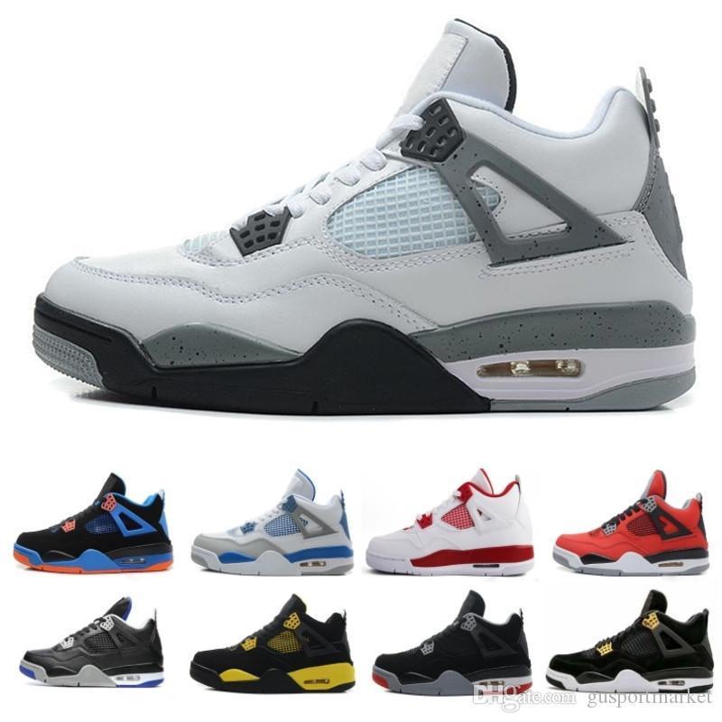С коробкой Travis 4 Cactus Jack 4s Mens Хищники баскетбольных кроссовок 4S Белый цемент Черный Красный 4 Pale Citron Мода кроссовки Спортивная обувь
