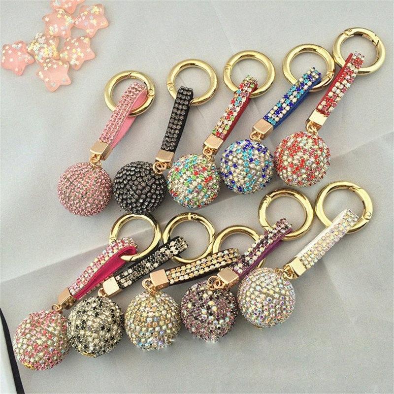 Trousseau strass bracelet en cuir de boule de cristal voiture porte-clés Charm Pendentif Porte-clés pour Femmes Cadeaux DHL grHj #