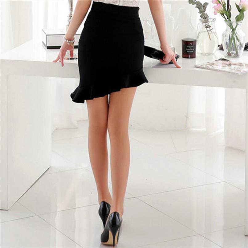 New Girls Noir Elasticité taille haute Jupes Sexy Asymétrie Jupe Volants Slim Femmes Tight Bias Jupe