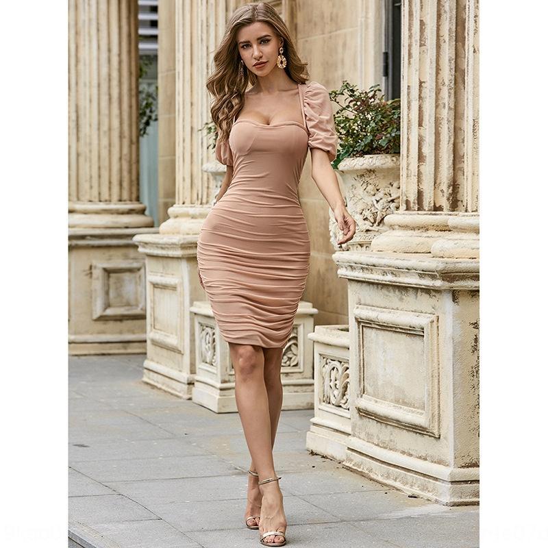 T8ZpP Nouveau plissé élégante robe nouvelle de manches bulle col carré femelle hôte plissé bulle col carré hôte femelle sociale