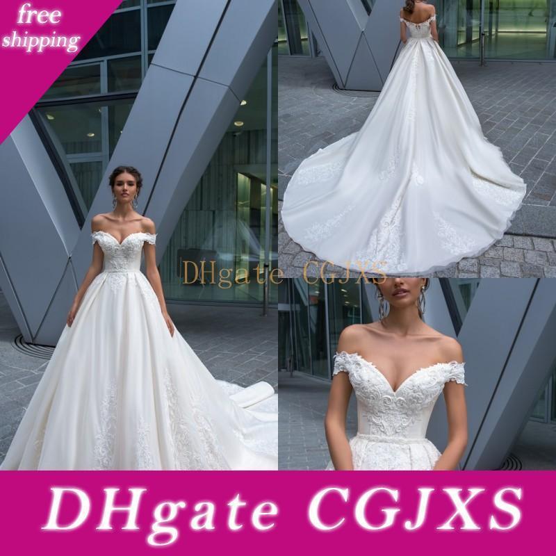2019 Cristal Diseño vestidos de boda atractivo del hombro de encaje sin espalda Apliques Vestidos de novia de barrido tren Castillo Una línea vestido de boda