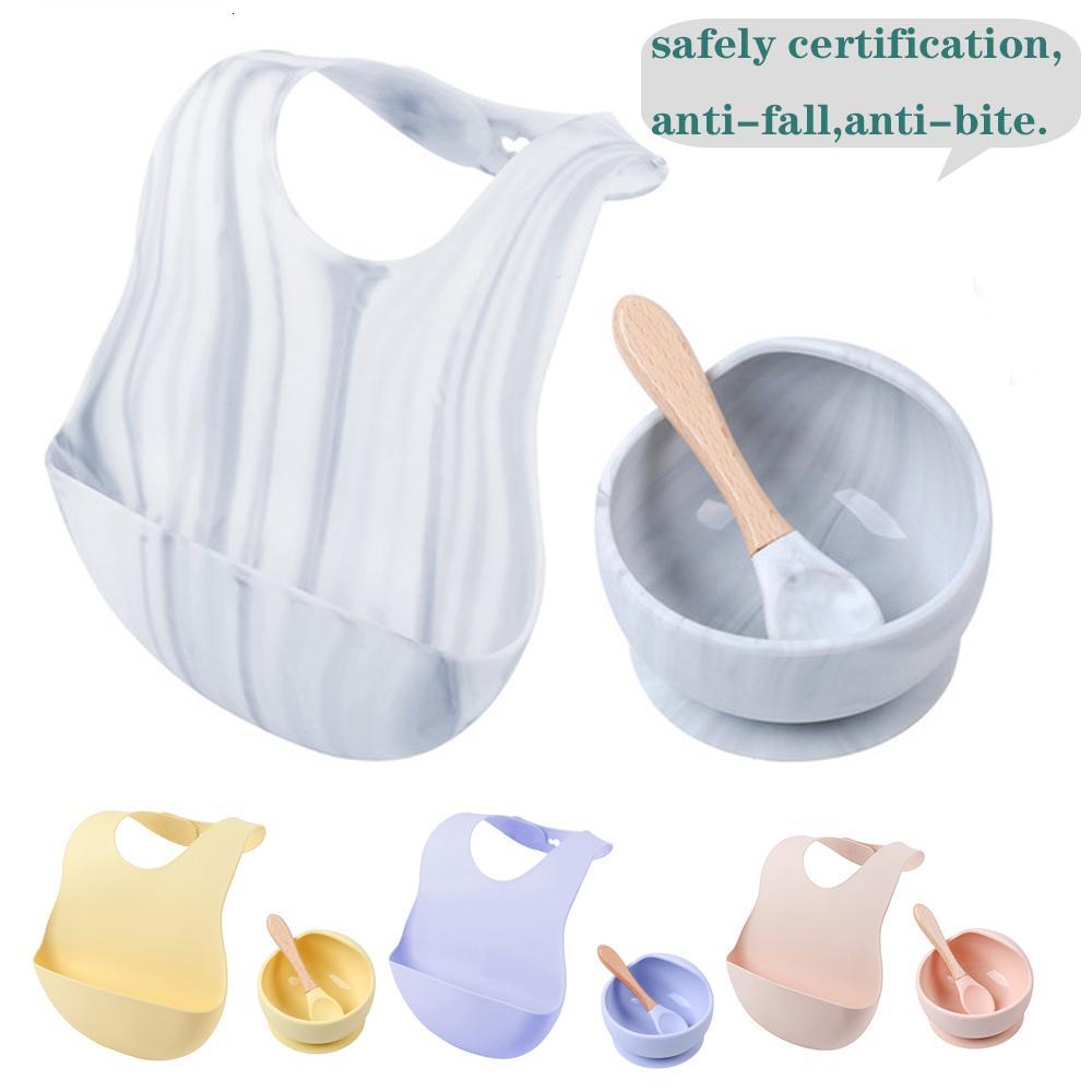 1 набор силиконовых наборов Bibs Bowl наборы Baby BPA Бесплатный силиконовый жевательный пищевой сорт новорожденного аксессуары зубы детские кормления