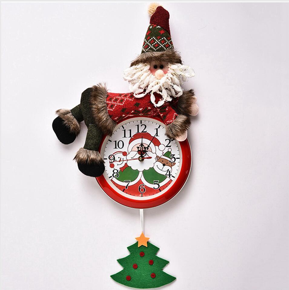 Hanging Noël Horloge Père Noël bonhomme de neige de Noël Hanging Horloge murale Joyeux Noël Accueil Chambre Horloges Décoration Seashipping LJJP295