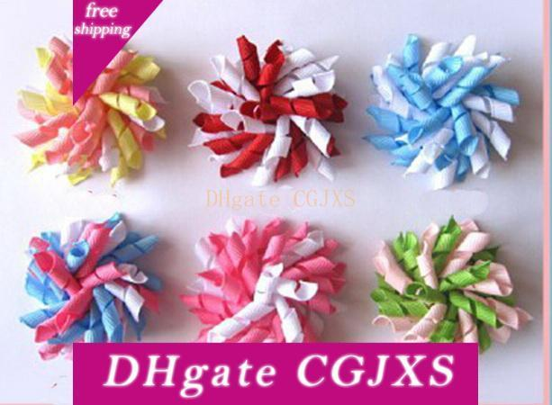Children S Curly Ribbon Hair Bows Clips Flowers Corker Barrettes 3 .5 Cm Korker Hair Bobbles Side Clip Hair Accessories Kids Pd007