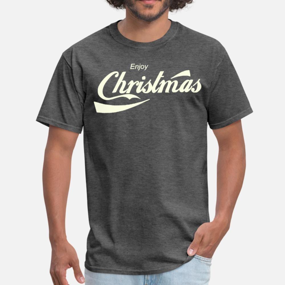 Наслаждайтесь Рождеством Пародия логотипа футболки футболки мужчин дизайнер хлопок S-XXXL Уникального Подарка дышащей Весна Урожай рубашка
