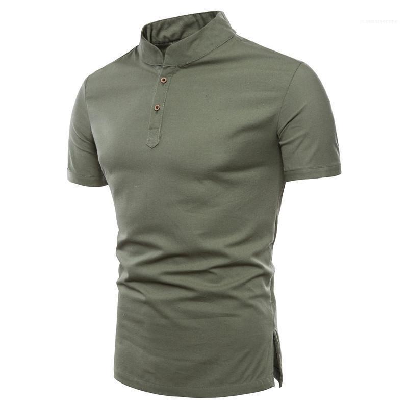 Été Hauts Casual manches courtes Homme Vêtements Solid Designer Couleur Hommes Polo Bouton Décoration Mode Hommes
