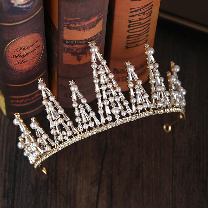 FORSEVEN Einfache glänzende Kristall Perlen Hochzeit Tiaras und Kronen-Stirnband für Frauen-Mädchen-Braut Noiva Haarschmuck Zubehör