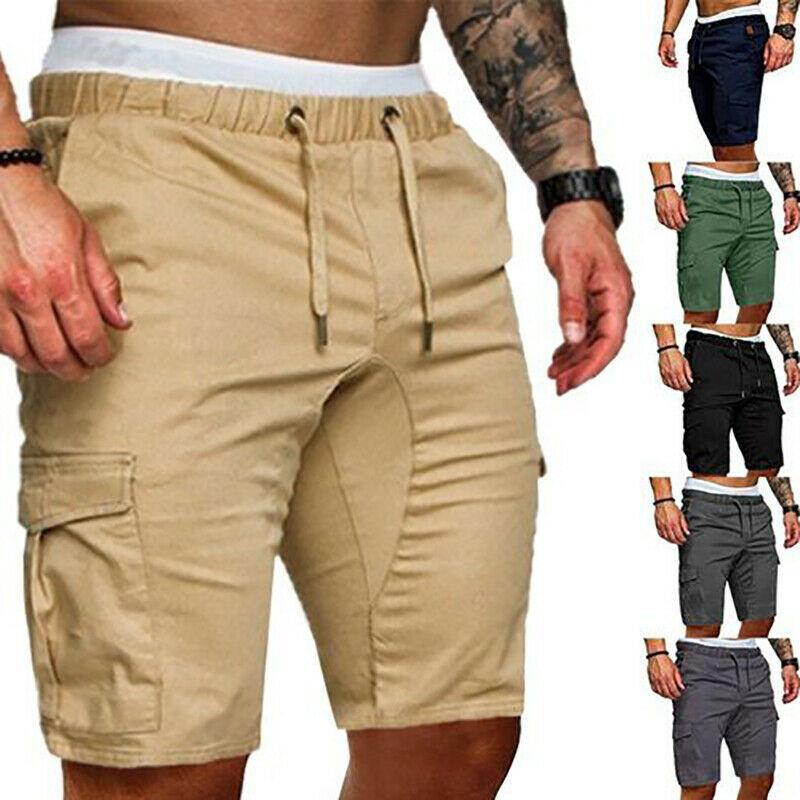 Горячие мужские летние повседневные шорты Solid Color Карман Gym Спорт Бег тренировки Грузовой Jogger брюки черный темно-синий цвета хаки
