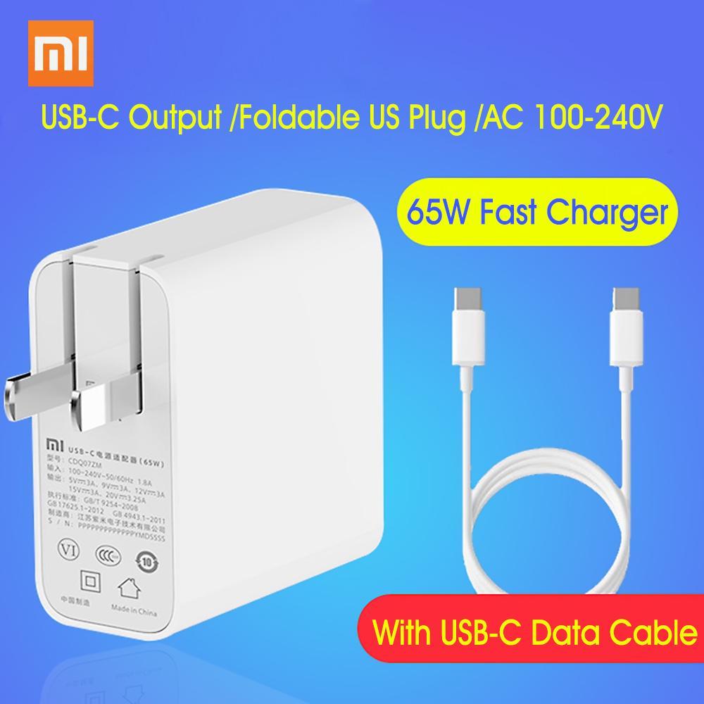 Xiaomi USB-C Şarj 65W Güç Adaptörü ile Katlanabilir ABD Tak Mini Taşınabilir Duvar Seyahat Şarj 100-240 Telefonu Laptop Notebook için