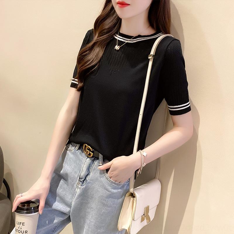 qIeHo VhcTc stil yaz moda ince külot külot yuvarlak boyun kısa kollu tişört kadın ince üst Batılı 2020 T örme taban gömlek
