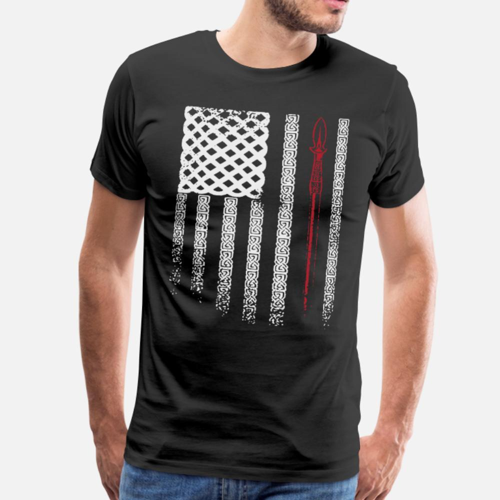 Drapeau des hommes de T-shirt Viking en coton personnalisé rond lettres cou Fit Comical style d'été Photos chemise