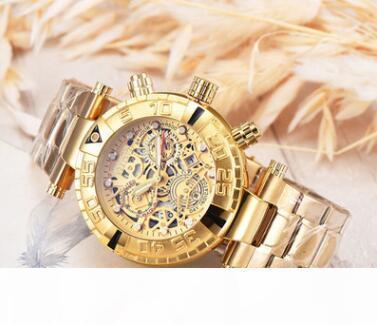 Mens-Sport-Quarz-Designer Uhren Herren Golduhr Big Gesicht Edelstahl Armbanduhr Relogio Masculino heißen Verkauf