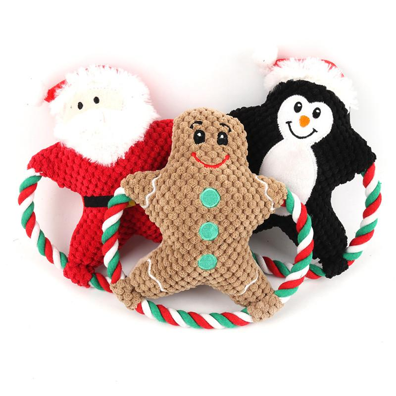Pet Plush Toy Vocal Dog Cartoon Cotton Rope Christmas Toy Christmas Puppy Molar Bite Doll Pets Christmas Gifts