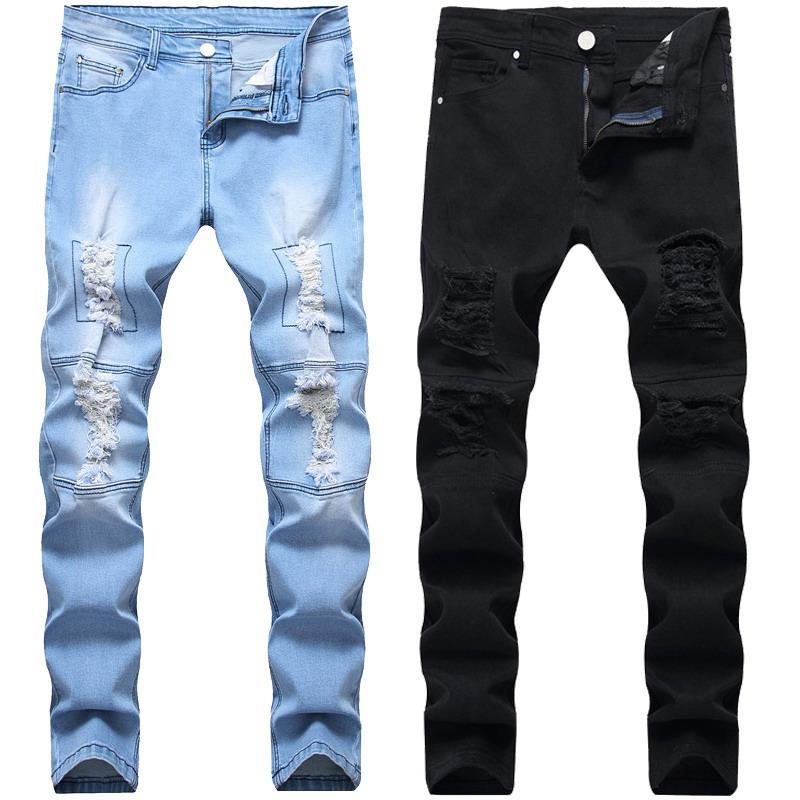 Compre 2021 Para Hombre Lava Jeans Desgastados Moda Pantalones Vaqueros Elasticos Pequenas Tubo Recto Tight Fit Juvenil Masculino De La Manera Pantalones Vaqueros 28 42 A 17 35 Del Jhco2 Dhgate Com