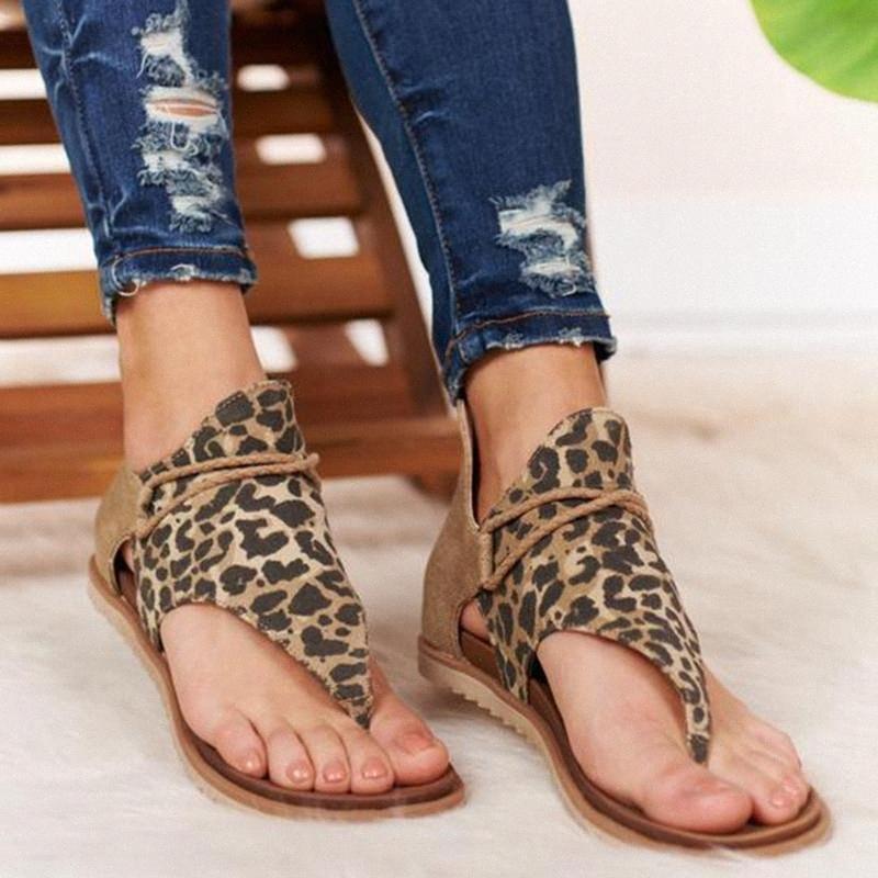 Pisos abierto del leopardo del dedo del pie de los zapatos ocasionales del nuevo verano de la correa de las sandalias mujeres de talla Roma Plus 36-43 zapatos tanga sandalias atractivas de las señoras 9zg8 #