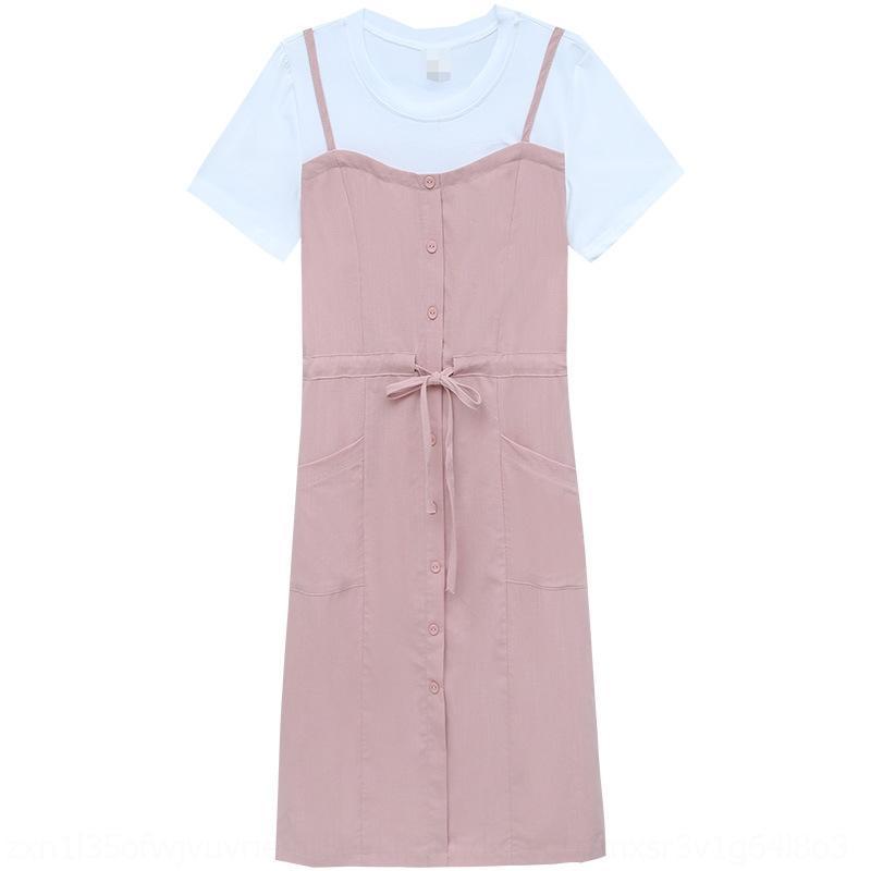 VR2NI CQ4SI 2020 Kleid Jugend Sommer Neuer Rock Frauen Kleidung Mode Alterung Nähen Gefälschte Zwei-Teil-Hosenträger Kleid Taille Abnehmen Supende