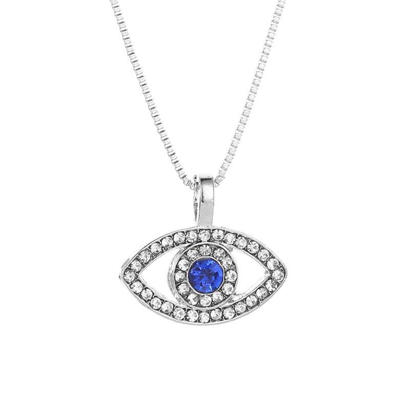 Collana blu malocchio collana ghiacciata con pendente cristalli di lusso cristalli strass clavicola collana argento gioielli girocollo collana moda regali di compleanno