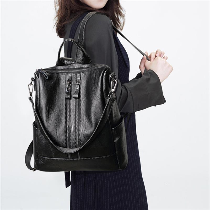 Новый корейский Повседневная мода для ноутбука Рюкзак Женщины Черная мягкая кожа Многофункциональная сумка плеча женщин Рюкзак Mochila Feminina