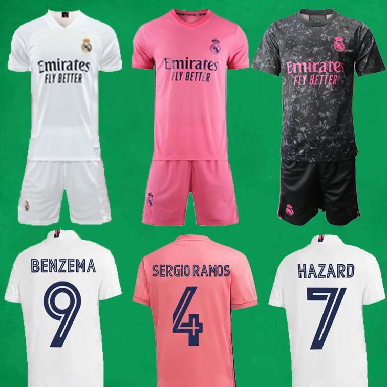 20 21 Real Madrid Fußball Jerseys kurz Home Away Dritte Fußball-Kits GEFAHR ZIDANE BENZEMA Fußballhemd Camiseta De Futbol Männer Kindeinstellt