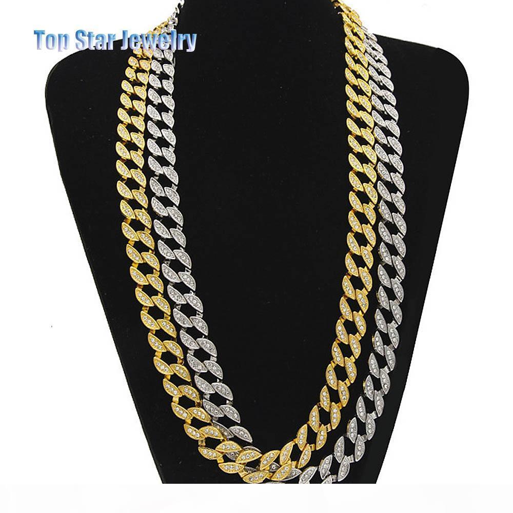 """Boîte de nuit Bijoux plaqué or 18 carats de diamants MIAMI CUBAN LINK Chaîne Collier Hommes Hip Hop Bling GLACÉ Solid Rock Rap Coolest Chaînes 24"""""""