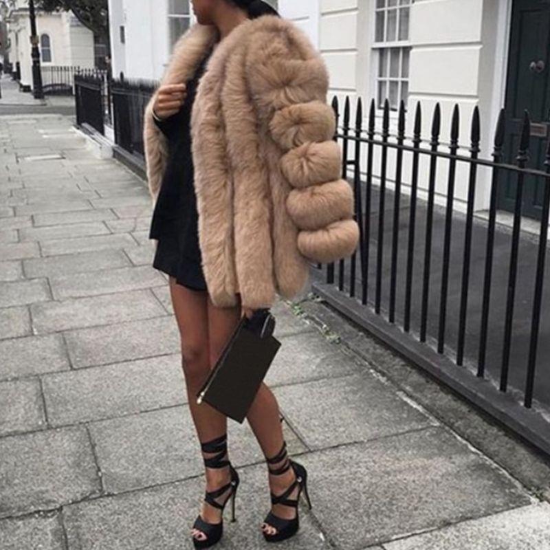 Женщины Плюс Размер Утолщенные искусственного меха Plain Шинель сплошного цвета с длинным рукавом Открытый фронт пальто куртки Роскошный элегантный fz6901