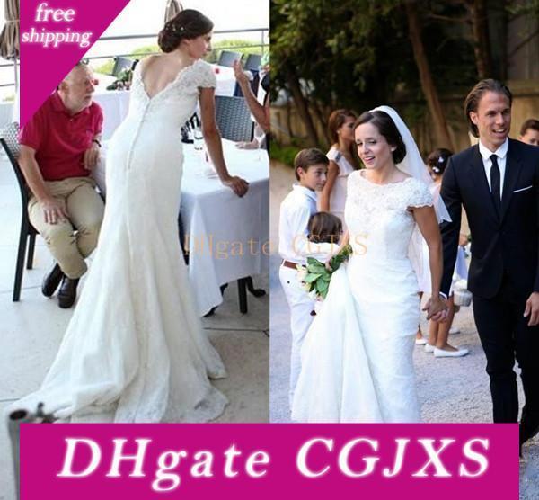 2019 Sweep Vintage Abiti da sposa Scoop Capped maniche treno pizzo completa Abiti da sposa V Backless Wedding Party Dress