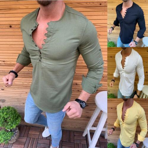 2019 новый мужской сплошной цвет сексуальный мышечной рубашки мужской моды случайный с длинными рукавами, V-образным вырезом мягкой дышащей верхней