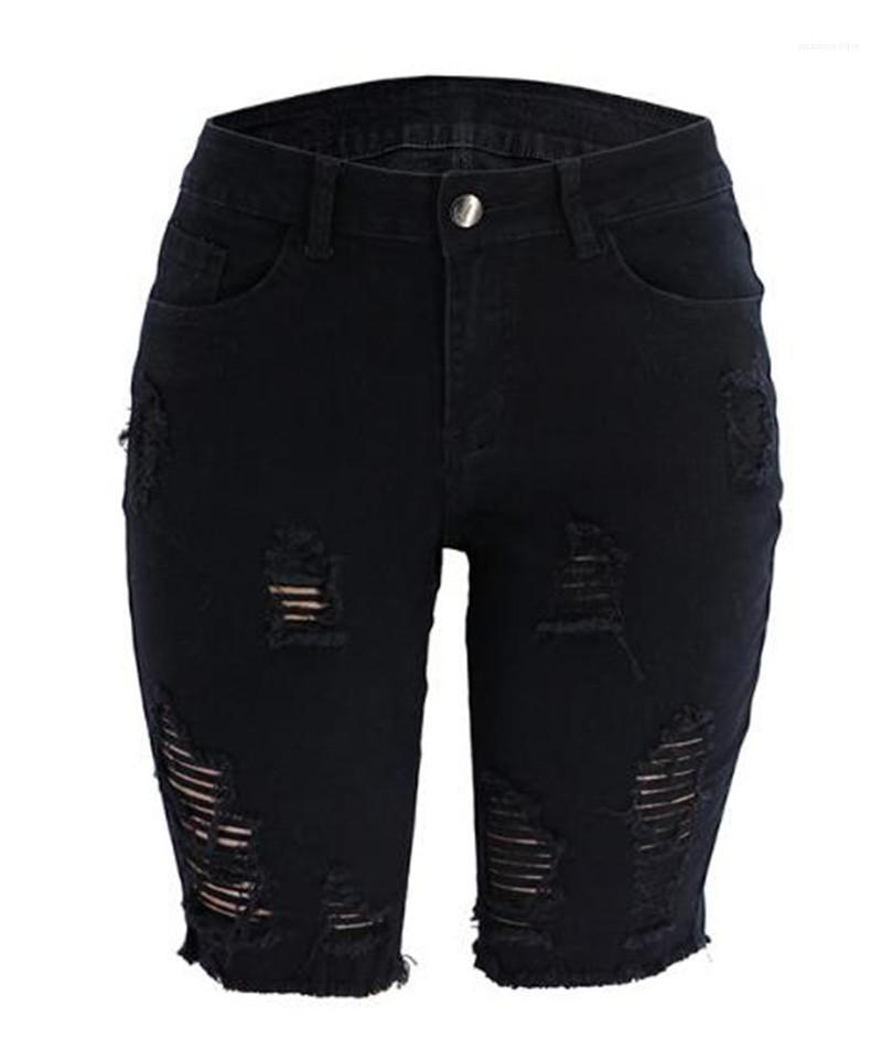 Jeans Moda Rasgado Buraco painéis Jeans Casual cintura alta Tamanho do Joelho Jeans Biker Shorts Mulheres Womens doce cor