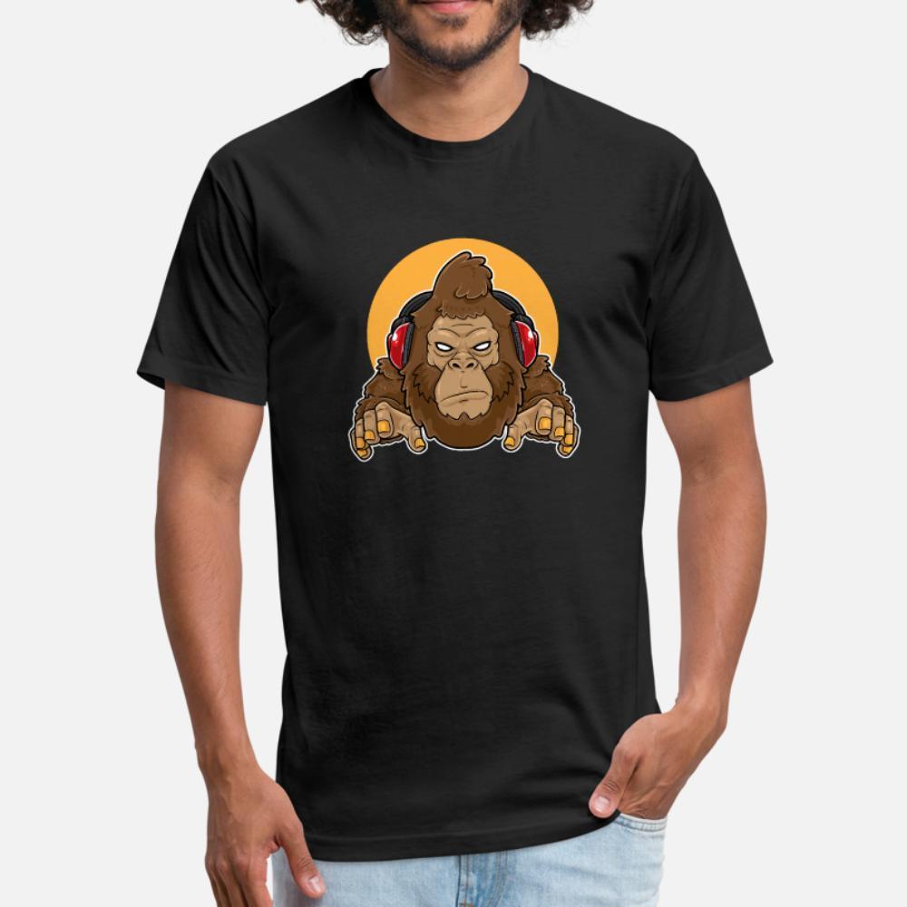 Gaming Gorilla, DJ Gorilla, Hip Hop Gorilla T-Shirt Männer Gestrickte T-Shirt-runde Kragen Normale lose Gebäude-Sommer-Art Freizeit-Hemd