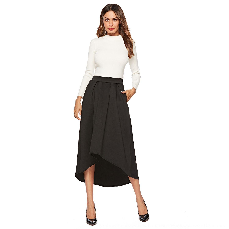 2019 sonbahar yeni kadın sonbahar yeni elbise sıcak satış düz renk büyük boy yüksek bel cebi düzensiz etek sıcak satış PtLAZ etek
