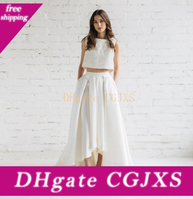 İlkbahar Yaz Gelinlik Modelleri Ucuz Yüksek Düşük Etek Saten Ve Dantel Ucuz Eve Dönüş Elbise Custom Made Ucuz İki adet Elbiseler Akşam Giyim