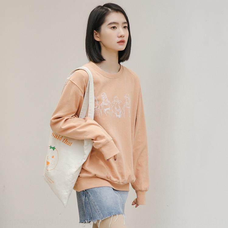 dj5rn Pullover koreanischen Stil Student CytRk Frauen 2020 Hals New Pullover Langarm Rund Herbst schicke Karikatur gedruckt Top-Mode-lose Top p