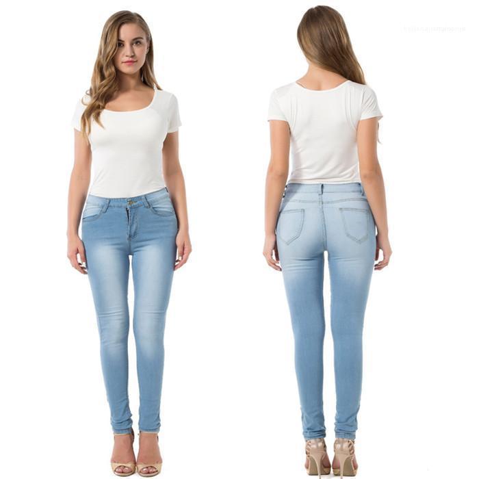Elasticità pantaloni della matita Famale Designer Jeans nuove donne dimagriscono i jeans adatti solido a vita alta di colore