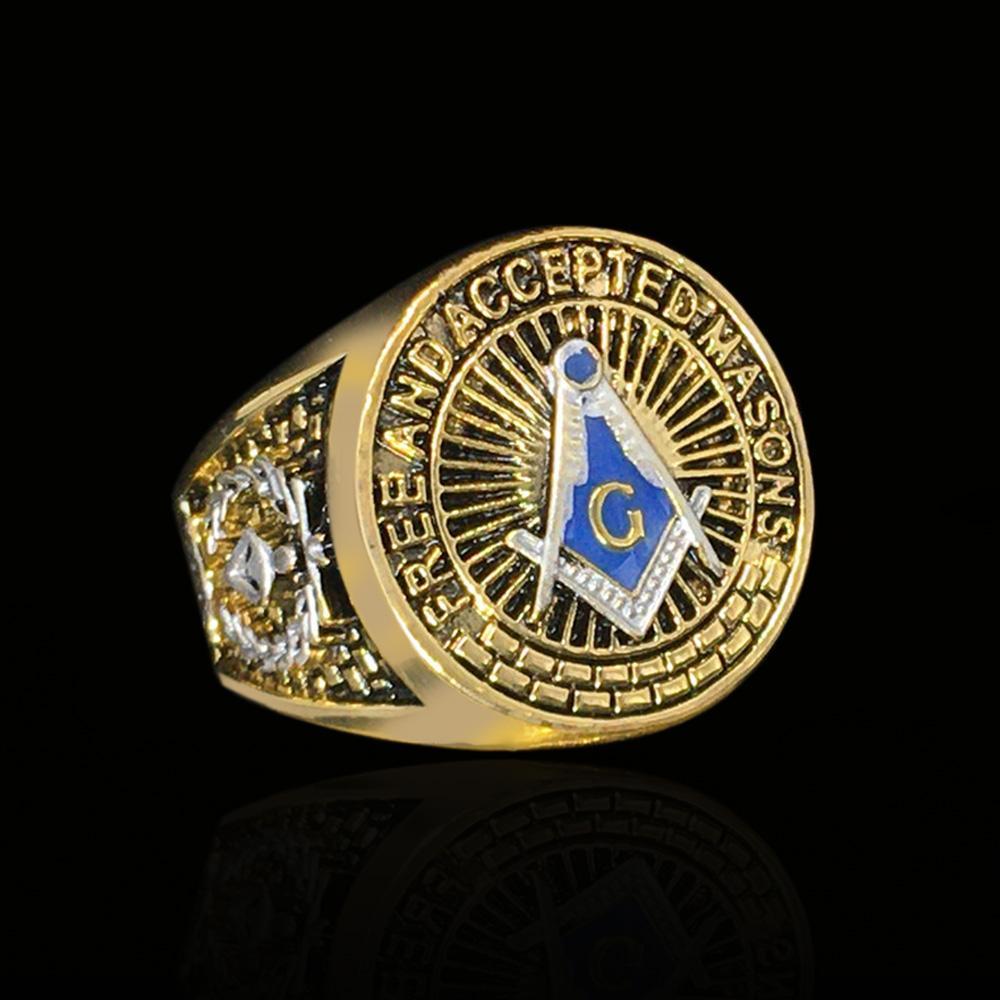 Erkekler Mason Sembol G Templar Masonluk Mason Ring için ücretsiz nakliye Yeni varış katı Paslanmaz Çelik Mason Yüzük