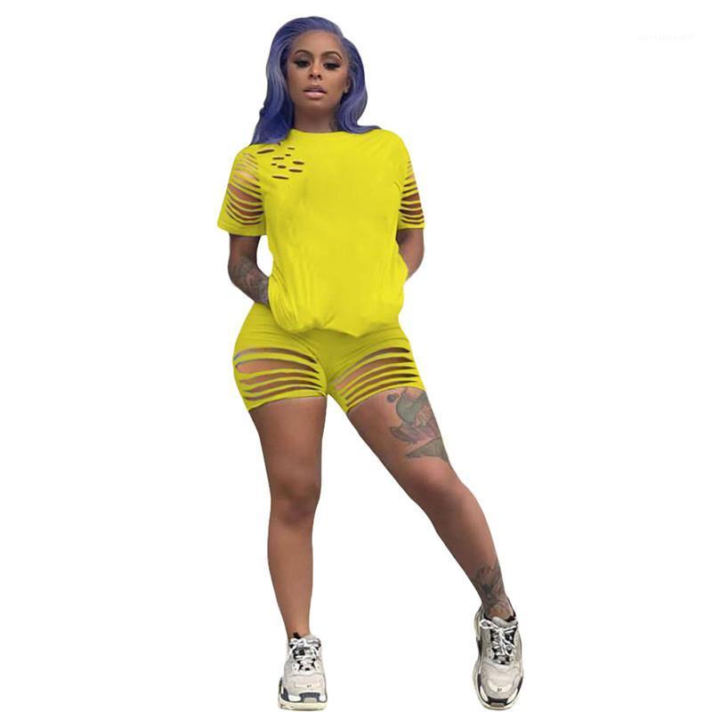 Los pantalones cortos de las mujeres Top de 2 Piezas Trajes Mujeres chándal de diseño Trajes agujero con paneles de manga corta casuales
