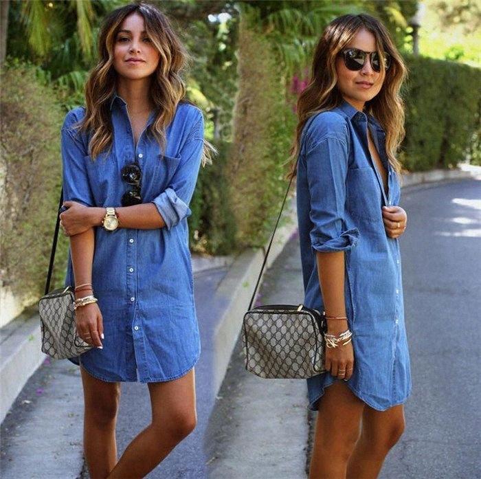 las mujeres vestido de mezclilla casuales suelta de manga larga T de la camisa más tamaño vestidos M172 a1DR #