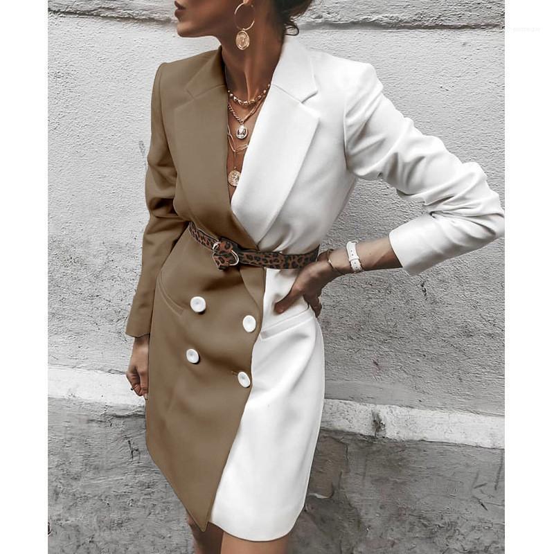 ile Sashes Düğme Uzun kollu Yaka Boyun Moda Kadın Coats Kontrast Renk Tasarımcı ceketler Kadınlar Kasetli Suit Ceketler
