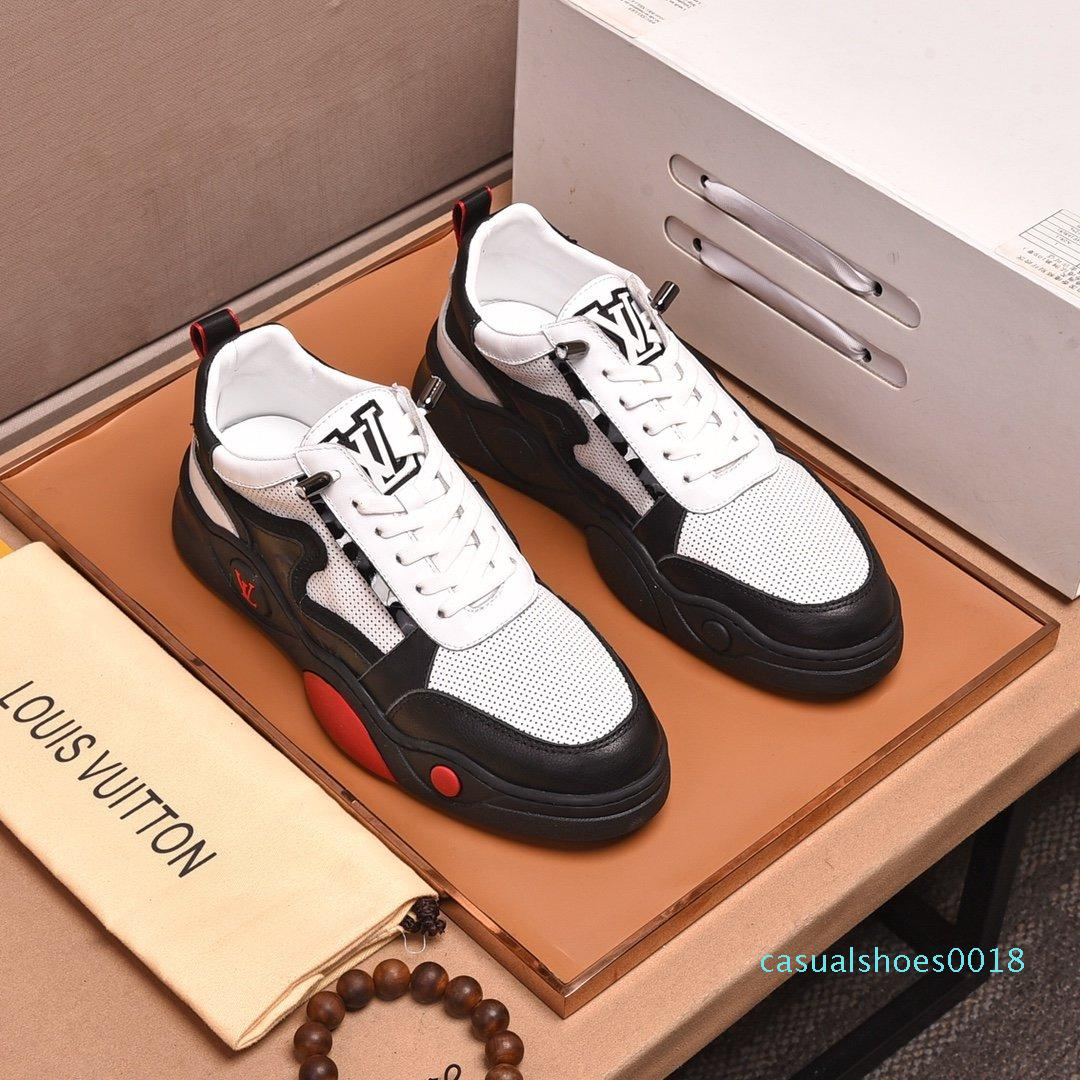 2020 O1 Fashion Trend Designer Mens scarpe di cuoio in mesh traspirante scarpe comode esterni Lace-up Escursionista Casual Shoes Mens Sneakers c18