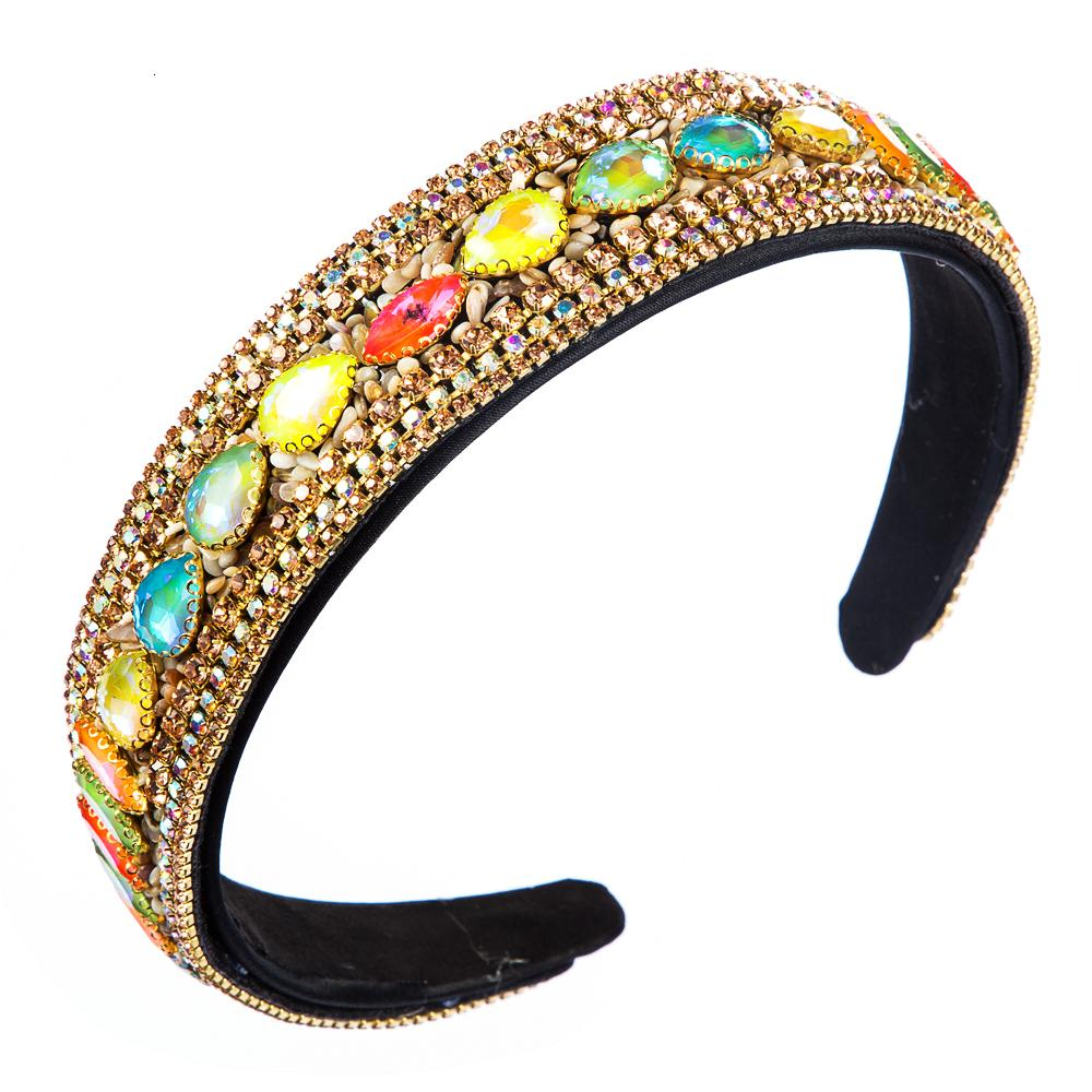 Korean Summer New Design Crystal Headband for Woman Luxury Colorcul Crystal Natural Stone Hair Hoop Woman Party Hair Accessories