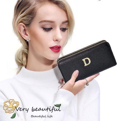 Billetera doble con cremallera nueva billetera de estilo damas larga cremallera billetera de gran capacidad Versión coreana de gran capacidad Monedero de embrague