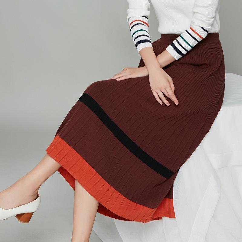 m4KjY A- A- LINHA A- Linha vestido de saia oco cintura alta preta 2020 Outono novas mulheres de saia fina de comprimento médio