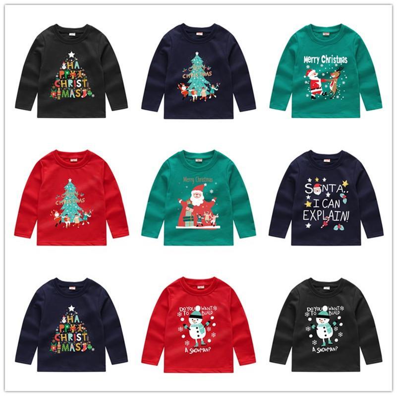 Natale con cappuccio Camicette per bambini ragazzi ragazze Felpe paillettes Cartoon manica lunga Maglia T-shirt girocollo Pullover Tops Clothes E92403