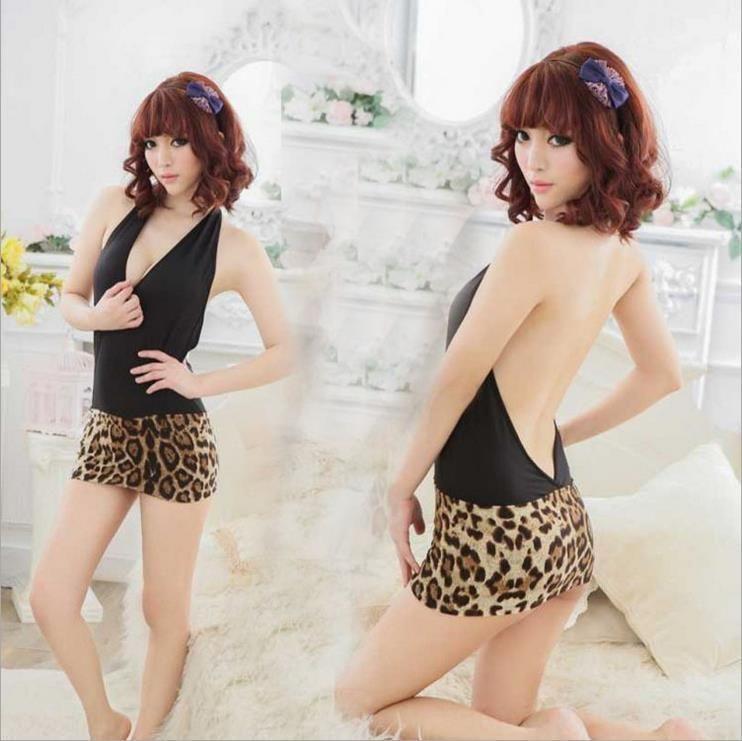 bPKpT leopardo de impresión de la ropa interior del club nocturno juego atractivo nueva criada traje de la tentación de la ropa interior del verano atractivo uniforme de la tentación de las mujeres